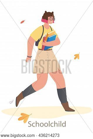 Young Cute Dressed Girl Is Going To School And Holding School Books. Concept Of Students And Little