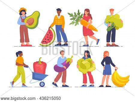 Set With Men And Women Standing With Fruits And Vegetables. Happy People Eating Healthy Food Togethe