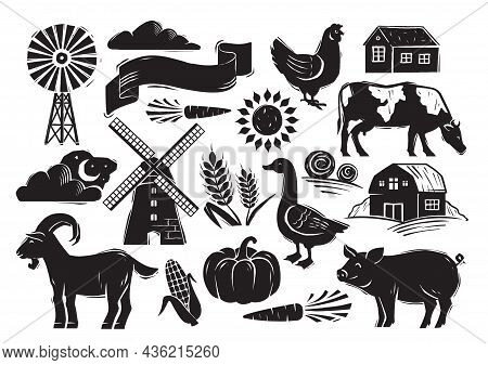 Woodcut Style Farm Set With Country Elements On White Background. Farm Animals, Vegetables And Other