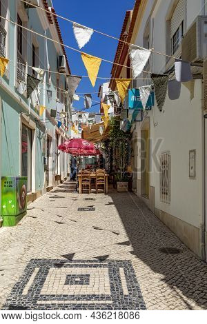 Silves, Portugal - August 14, 2020:  Downtown View Of Old Town Of Silves With Typical Small Portuges