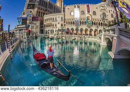 Las Vegas, Usa - June 15, 2012: Las Vegas The Venetian Hotel Casino, Featured With Canals And Gondol