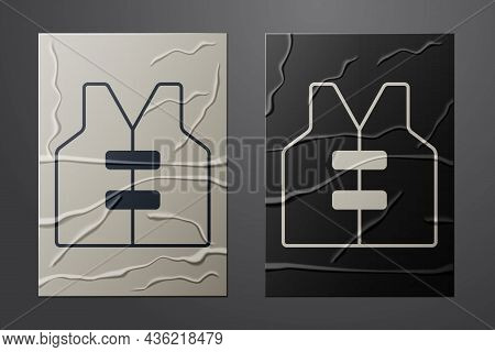 White Life Jacket Icon Isolated On Crumpled Paper Background. Life Vest Icon. Extreme Sport. Sport E