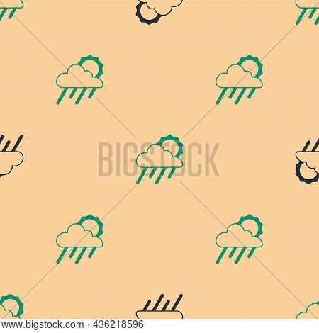 Green And Black Cloud With Rain And Sun Icon Isolated Seamless Pattern On Beige Background. Rain Clo