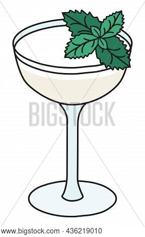 Southside Classic New Era Cocktail In Cope Glass. Gin Based White Drink Garnished Mint And Egg White