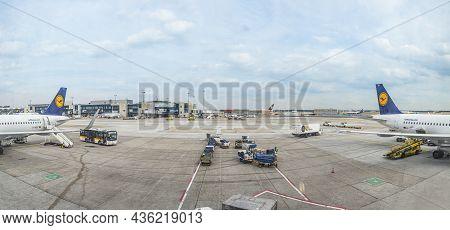 Frankfurt, Germany - June 18, 2015: Aircrafts  At The Airport  In Frankfurt, Germany. In 2012, Frank