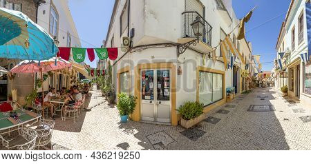 Silves, Portugal - August 14, 2020: Panoramic Downtown View Of Old Town Of Silves With Typical Small