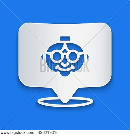Paper Cut Grandmother Icon Isolated On Blue Background. Paper Art Style. Vector