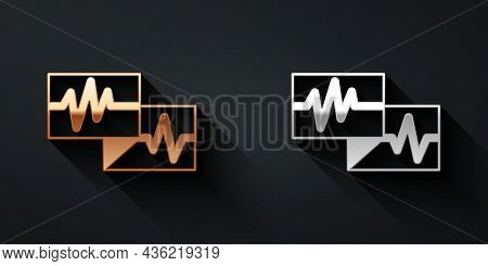 Gold And Silver Computer Monitor With Cardiogram Icon Isolated On Black Background. Monitoring Icon.