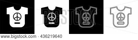 Set Peace Icon Isolated On Black And White Background. Hippie Symbol Of Peace. Vector