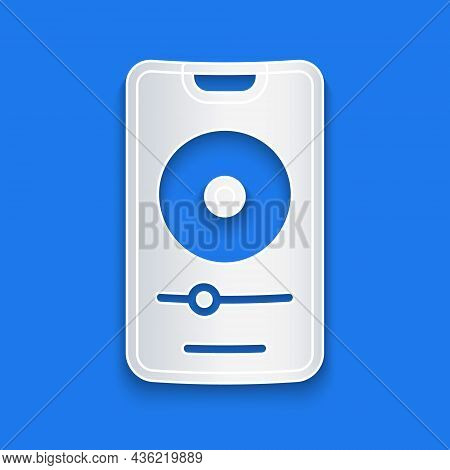 Paper Cut Music Player Icon Isolated On Blue Background. Portable Music Device. Paper Art Style. Vec