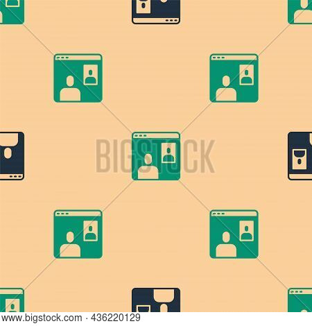 Green And Black Video Chat Conference Icon Isolated Seamless Pattern On Beige Background. Computer W