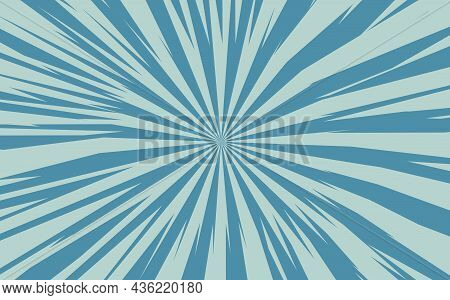 Pop Art Radial Colorful Comics Book Magazine Cover. Striped Grey And Blue Digital Background. Cartoo