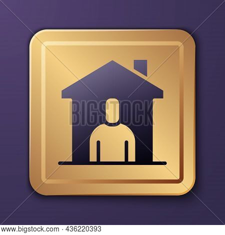 Purple Shelter For Homeless Icon Isolated On Purple Background. Emergency Housing, Temporary Residen