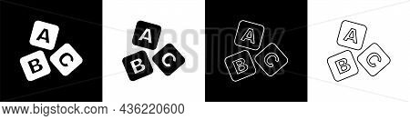 Set Abc Blocks Icon Isolated On Black And White Background. Alphabet Cubes With Letters A, B, C. Vec