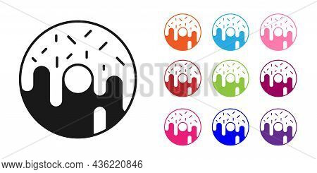 Black Donut With Sweet Glaze Icon Isolated On White Background. Set Icons Colorful. Vector