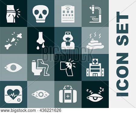 Set Insomnia, Medical Hospital Building, Shit, Eye Test Chart, Runny Nose, Human Broken Bone, Abdomi