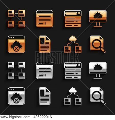 Set File Document, Cloud Technology Data Transfer, Search Concept With Folder, Failed Access Cloud S