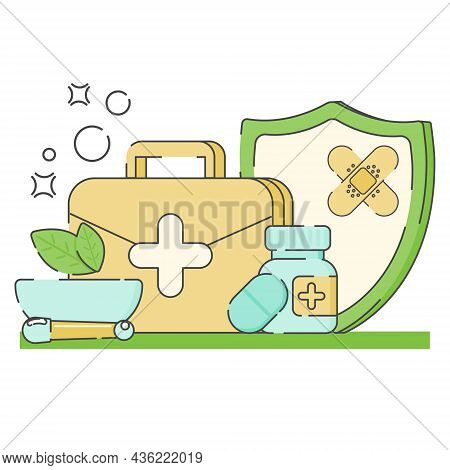 Set Of Medicine And Health Flat Icons.medical Preparations Injections, Pills, Bottle, First Aid Kit.