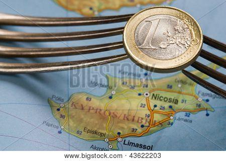 Cyprus Financial Crisis Euro Coin Over Map