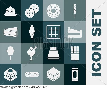 Set Candy, Chocolate Bar, Piece Of Cake, Donut, Ice Cream In Waffle Cone, Cake And Waffle Icon. Vect
