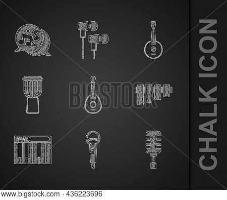 Set Guitar, Microphone, Pan Flute, Music Synthesizer, Drum, Banjo And Note, Tone Icon. Vector