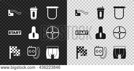 Set Bicycle Brake, Sport Bottle With Water, Lock, Checkered Flag, Stopwatch, Cycling Shorts, Ribbon