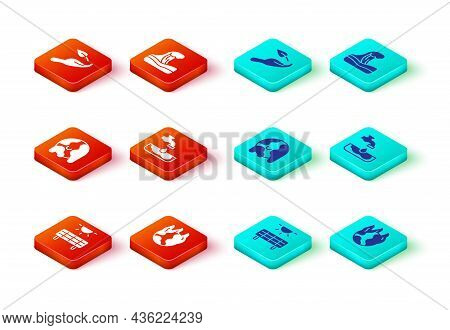 Set Solar Energy Panel, Global Warming Fire, Water Problem, Tsunami And Sprout Hand Icon. Vector