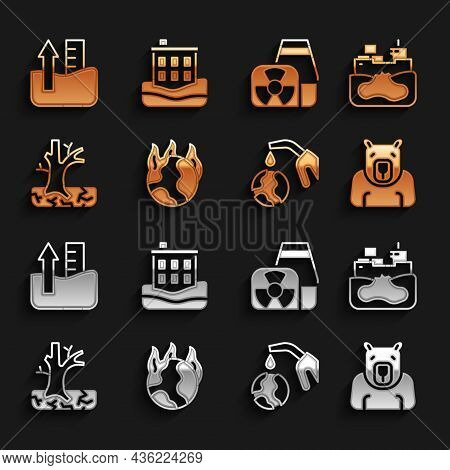 Set Global Warming Fire, Wrecked Oil Tanker Ship, Polar Bear Head, Gas Pump Nozzle And Globe, Wither