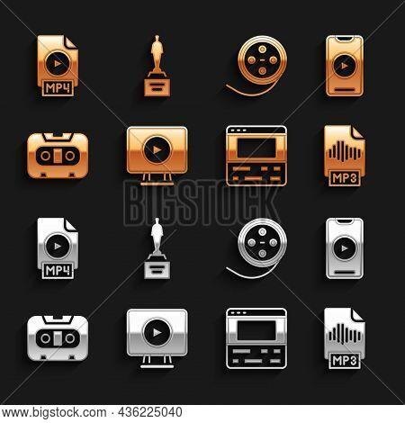 Set Online Play Video, Mp3 File Document, Video Recorder On Laptop, Retro Audio Cassette Tape, Film