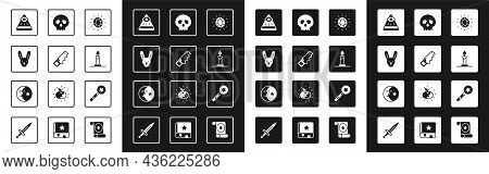 Set Magic Stone, Hand Saw, Rabbit With Ears, Masons, Burning Candle In Candlestick, Skull, Wand And