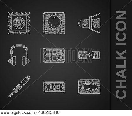 Set Drum Machine, Record Button, Music Wave Equalizer, Note, Tone, Audio Jack, Headphones, Movie Spo