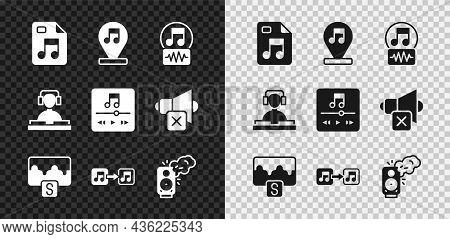 Set Mp3 File Document, Music Note, Tone, Wave Equalizer, Stereo Speaker, Dj Playing Music And Player