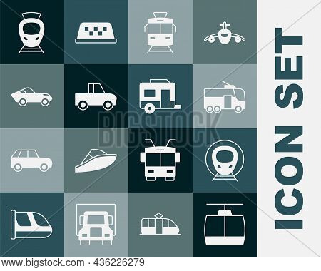 Set Cable Car, Train And Railway, Trolleybus, Tram, Pickup Truck, Car, And Rv Camping Trailer Icon.