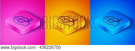 Isometric Line Man With A Headset Icon Isolated On Pink And Orange, Blue Background. Support Operato