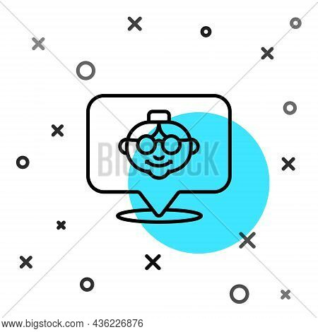 Black Line Grandmother Icon Isolated On White Background. Random Dynamic Shapes. Vector