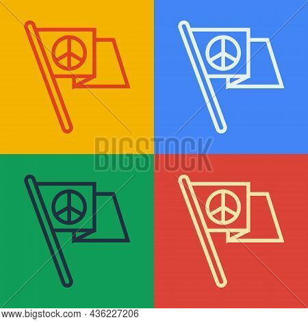 Pop Art Line Peace Icon Isolated On Color Background. Hippie Symbol Of Peace. Vector