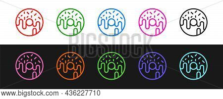 Set Line Donut With Sweet Glaze Icon Isolated On Black And White Background. Vector