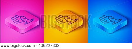 Isometric Line Molten Gold Being Poured Icon Isolated On Pink And Orange, Blue Background. Molten Me