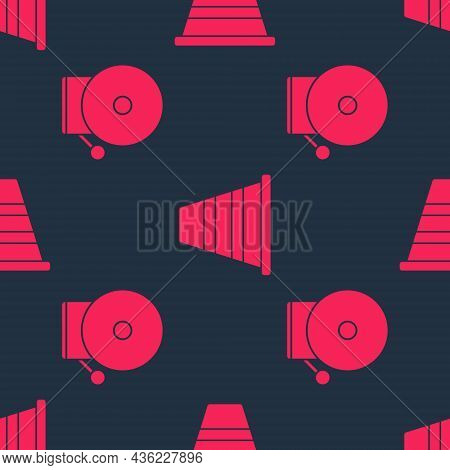 Set Ringing Alarm Bell And Traffic Cone On Seamless Pattern. Vector
