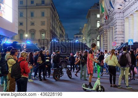 Rome, Italy - October 9 2021: Anti-vax Protest Against The Extension Of Covid-19 Health Pass System.