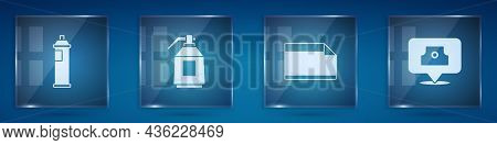 Set Paint Spray Can, Gun, Paper Adhesive Sticker And Spray Nozzle Cap. Square Glass Panels. Vector