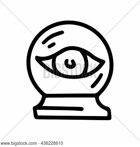 Crystal Ball With Eye Line Vector Doodle Simple Icon