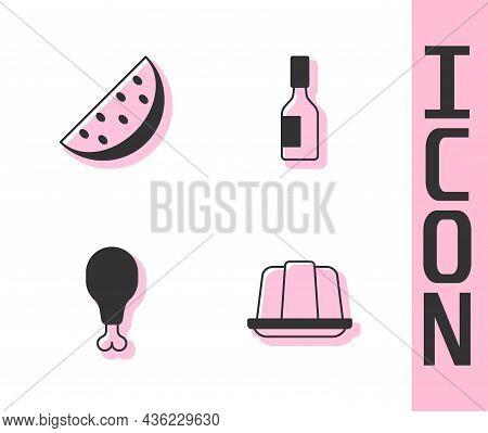 Set Jelly Cake, Watermelon, Chicken Leg And Tabasco Sauce Icon. Vector
