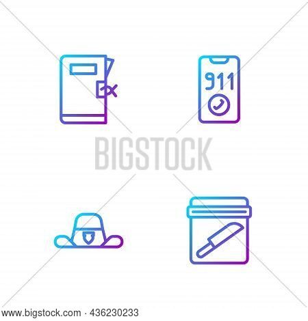 Set Line Evidence Bag With Knife, Sheriff Hat Badge, Police Station Folder And Telephone Call 911. G