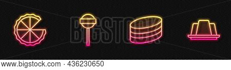 Set Line Brownie Chocolate Cake, Homemade Pie, Lollipop And Jelly. Glowing Neon Icon. Vector