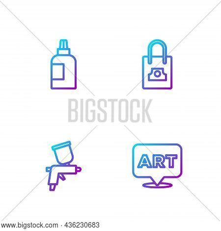 Set Line Speech Bubble With Text Art, Paint Spray Gun, Paint, Gouache, Jar, Dye And Spray Can Nozzle