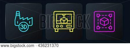Set Line Printing House Industry, Geometric Figure Cube And 3d Printer. Black Square Button. Vector