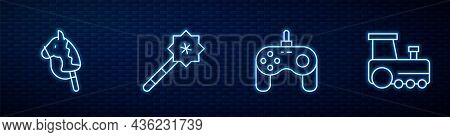 Set Line Gamepad, Toy Horse, Magic Wand And Train. Glowing Neon Icon On Brick Wall. Vector