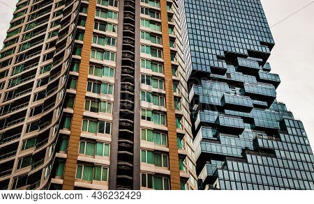 Bangkok, Thailand - 03 Oct 2020 : Angular Geometric Mirror Cladding With Repeating Structure Of Mode