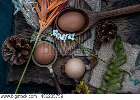 Fresh Farm Eggs On Beautiful Wooden Background, Nutrition Concept, Selective Focus, Top View. Boiled